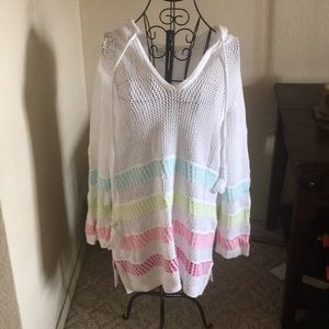 Fall crochet tunic  teal pink white xl  beach